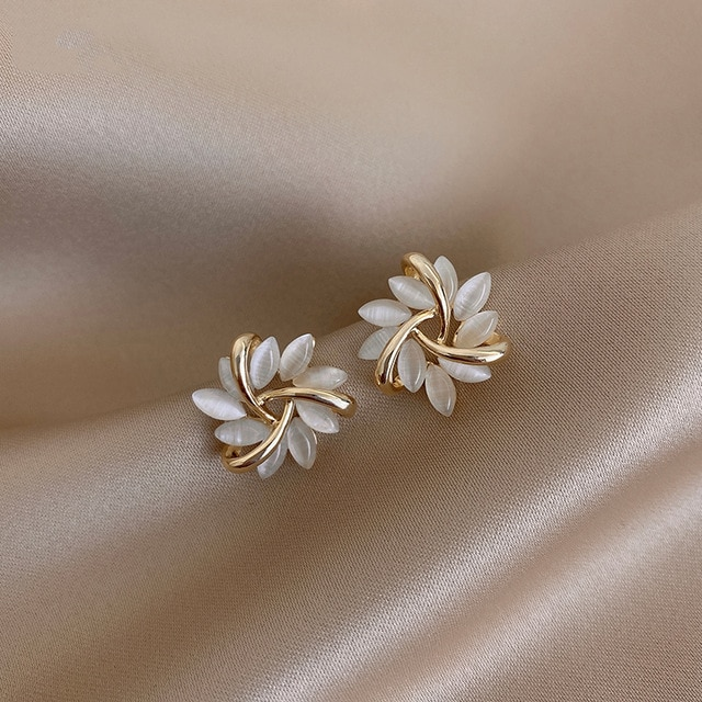 Shop Bloom Fashion Elegant and Exquisite Opal Petal Circle Stud Earrings for Women