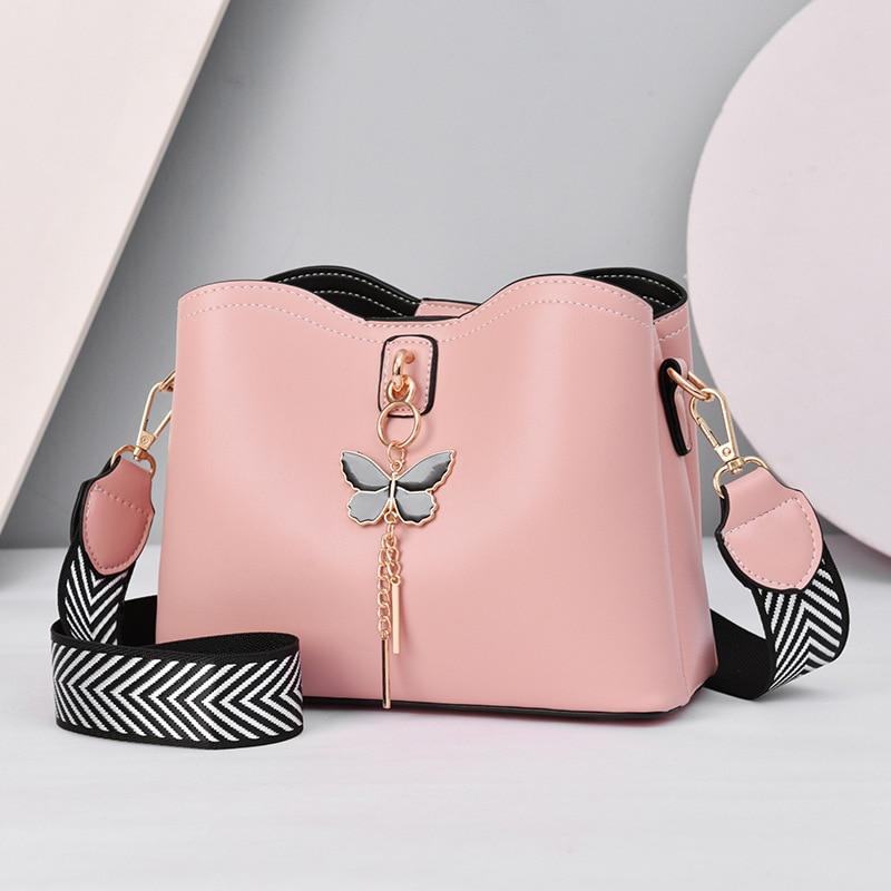 Fashon Women's Bucket Shoulder Bag PU Leather Weave Strap Belt women Bag Luxury Messenger Bag