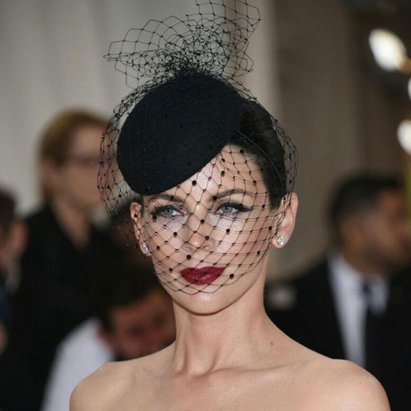 Shop Bloom Fashion Felt Hat Topper Mesh Fishnet